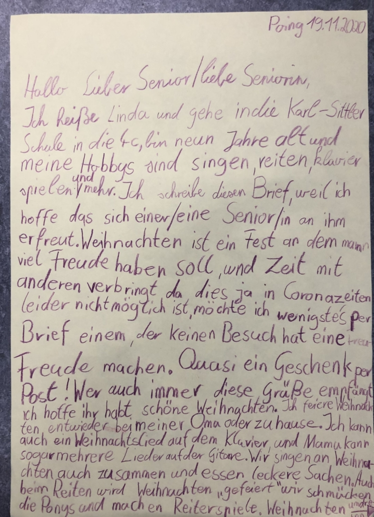 Brief für Poinger Senioren